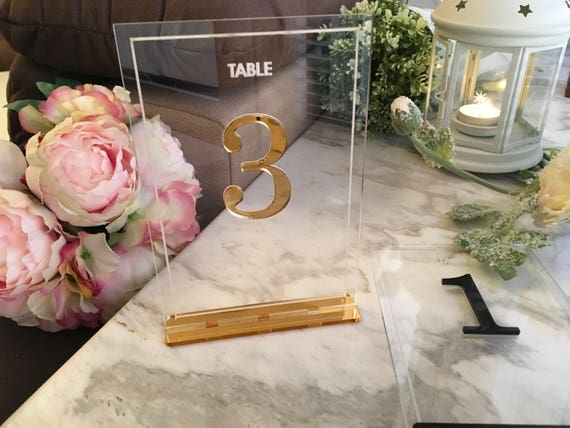 Wedding Table Number Holders Clear Acrylic Laser Cut Table Numbers Base Party Signs Gold Decorations Table Markers Centerpieces Luxury Tag