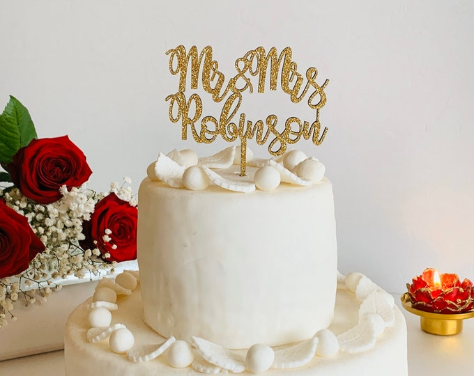 Personalized Gold Glitter Wedding Cake Topper Custom Mr and Mrs Last Name Calligraphy Wood Acrylic Table Centerpieces Customized Decorations