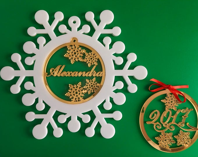 Personalized Christmas Name Bauble Snowflake Ornaments Memorial Family Gift Custom Ornament Xmas Decor Babys First Christmas Tree ornaments