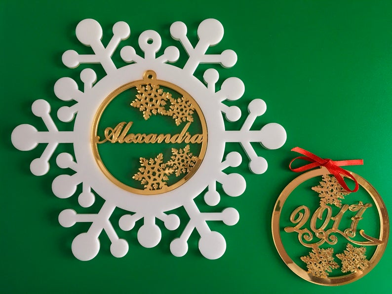Personalized Christmas Name Bauble Snowflake Ornaments image 0