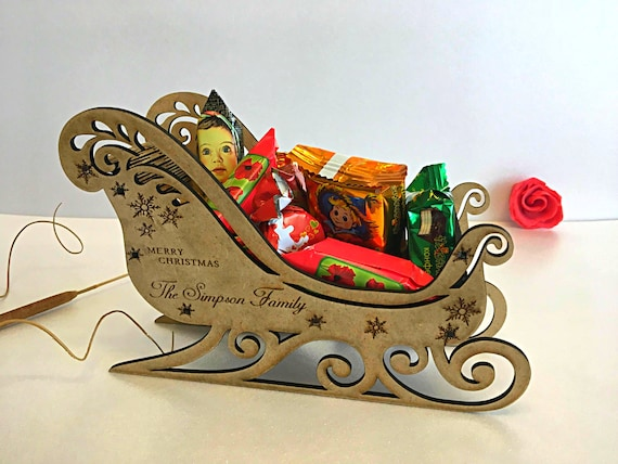 Personalized Wooden Handmade Santa's Sleigh Christmas Eve Sweets Box Custom Xmas Gifts Engraved Santa Holiday Ornaments Home Decorations 3D