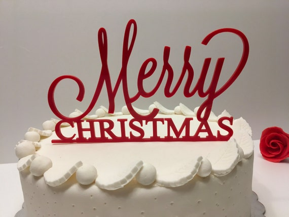Merry Christmas Personalized Acrylic Cake Topper Red cake topper Christmas gift Xmas centerpiece Custom cake topper Christmas decorations