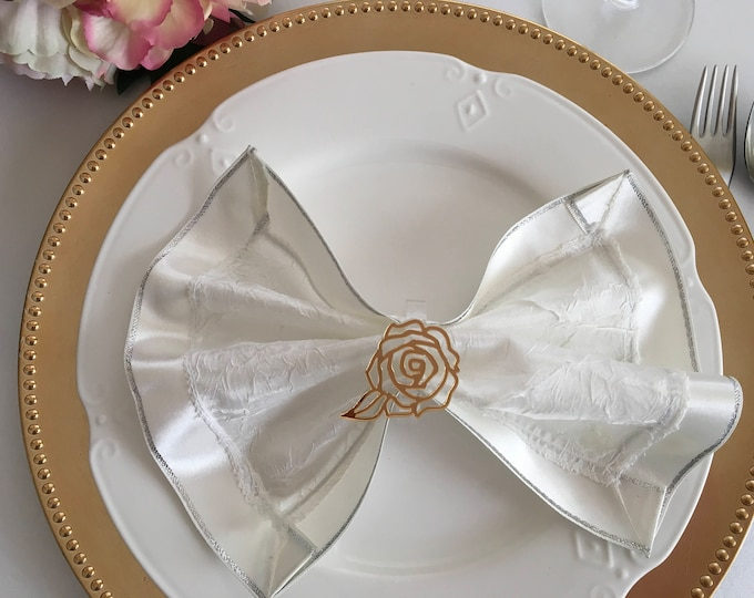 Flower napkin ring holders Filigree gold rose Acrylic Floral wedding napkin rings Bridal shower decorations Carved rose Table centerpiece