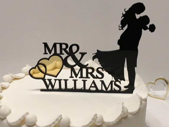 Unique Wedding Cake Topper Mr and Mrs cake topper Personalized Custom Acrylic Cake Topper with last name Bride and Groom Silhouette topper