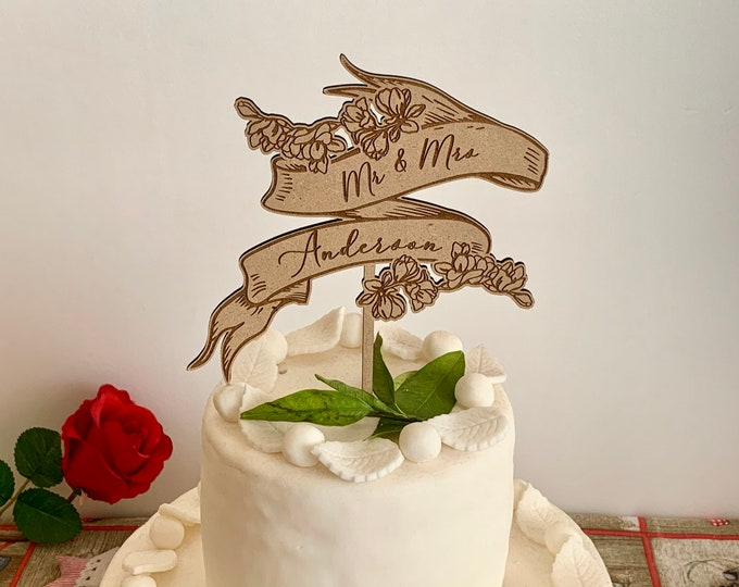 Personalized Wedding Wooden Cake Topper with Mr Mrs and Flowers Bloom Custom Surname Rustic Wood Centerpiece Anniversary Engraved Banner