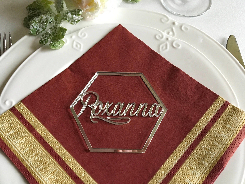 Hexagon wedding invitation Geometric Signs Elegant Place cards ...