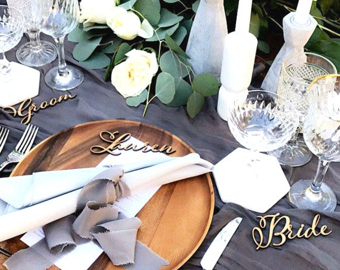 Wedding Place Cards Gold Laser Cut Names Wedding Place Settings Reception party Wedding Decor Guest Seating Wooden Place Cards Name tags
