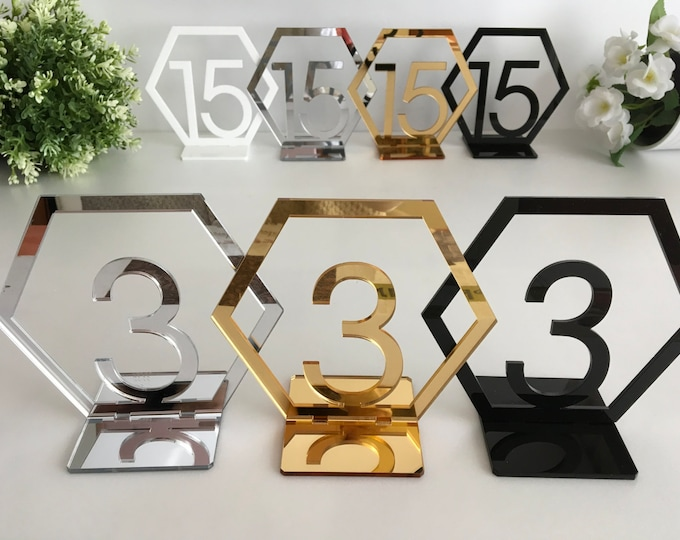 Geometric Table Numbers Hexagon Wedding Table Numbers Reception numbers Gold Acrylic Freestanding numbers Wedding sign Wedding centerpiece