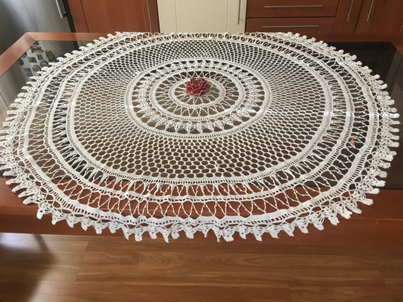 """Large White Doily Crochet Round Tablecloth Lace Doilies Handmade Table Topper Decorations Valentine Gift Mothers Day Vintage Centerpiece 47"""""""