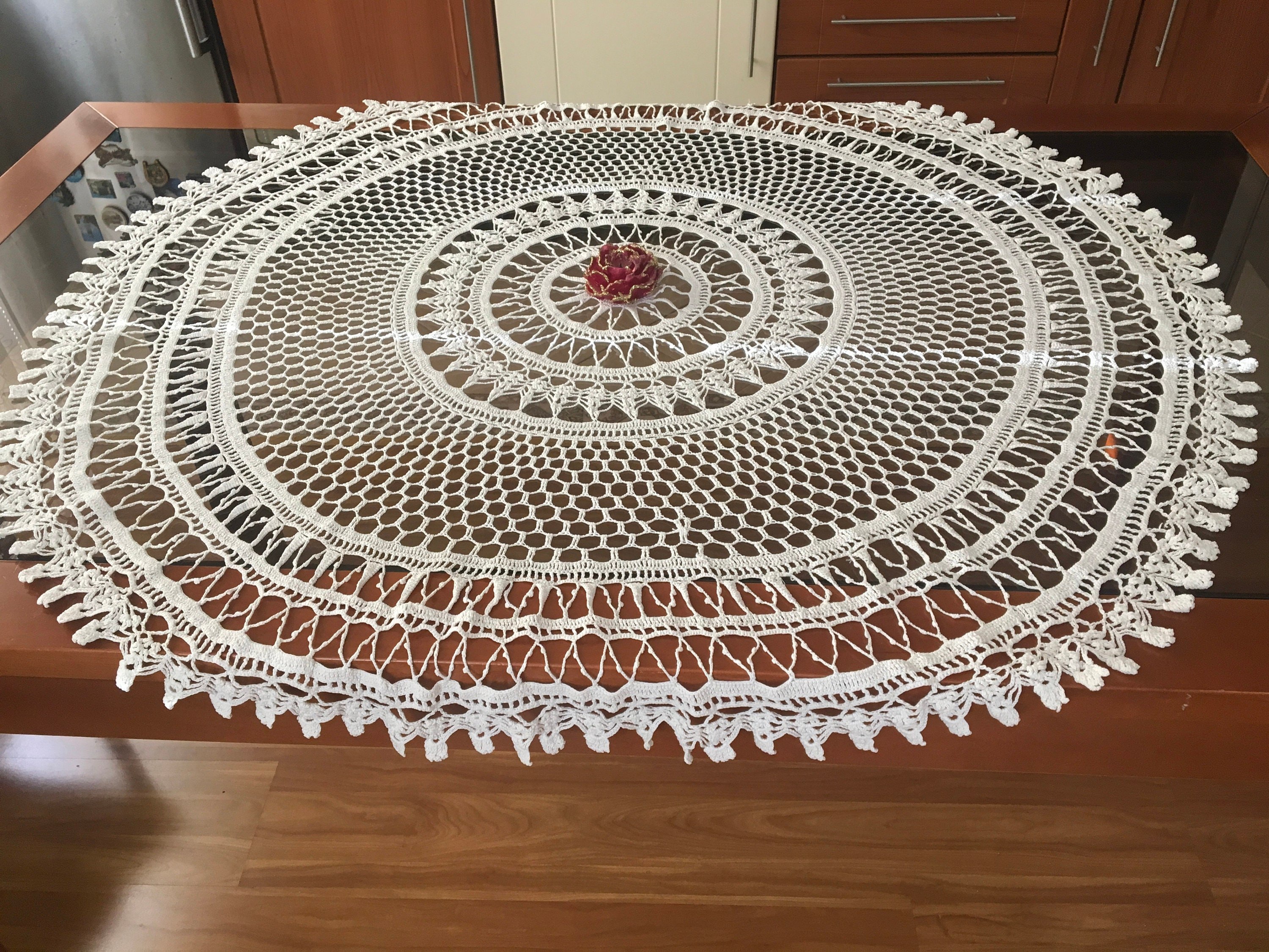Large White Doily Crochet Round Tablecloth Lace Doilies Handmade