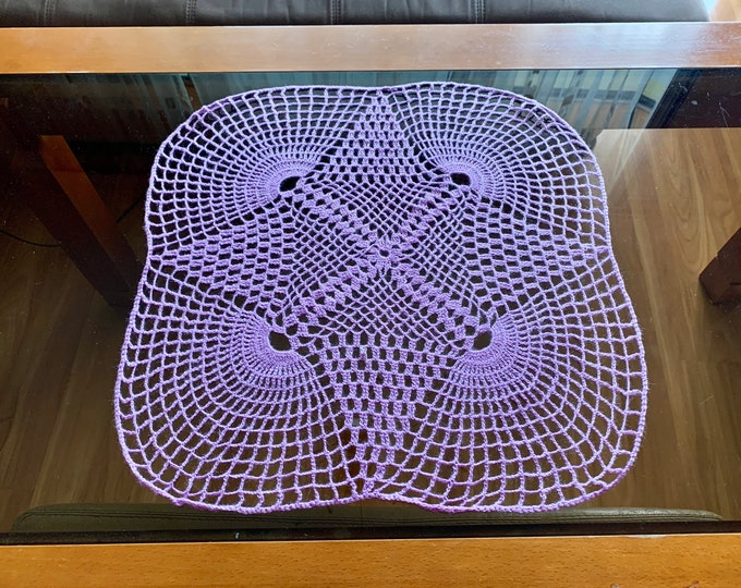Purple Doily Crochet Handmade Small Tablecloth Violet Home Decoration Color Table Centerpiece Crocheted Doilies Placemat Gift for Mom