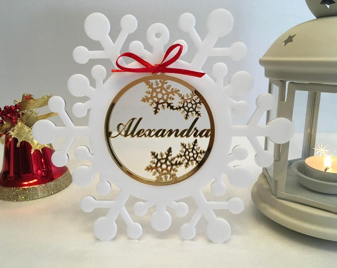 Personalized Christmas Baubles Christmas Name Tree Ornaments White Snowflakes Xmas Gift Ideas Custom Gifts Frozen Winter Tree Decorations