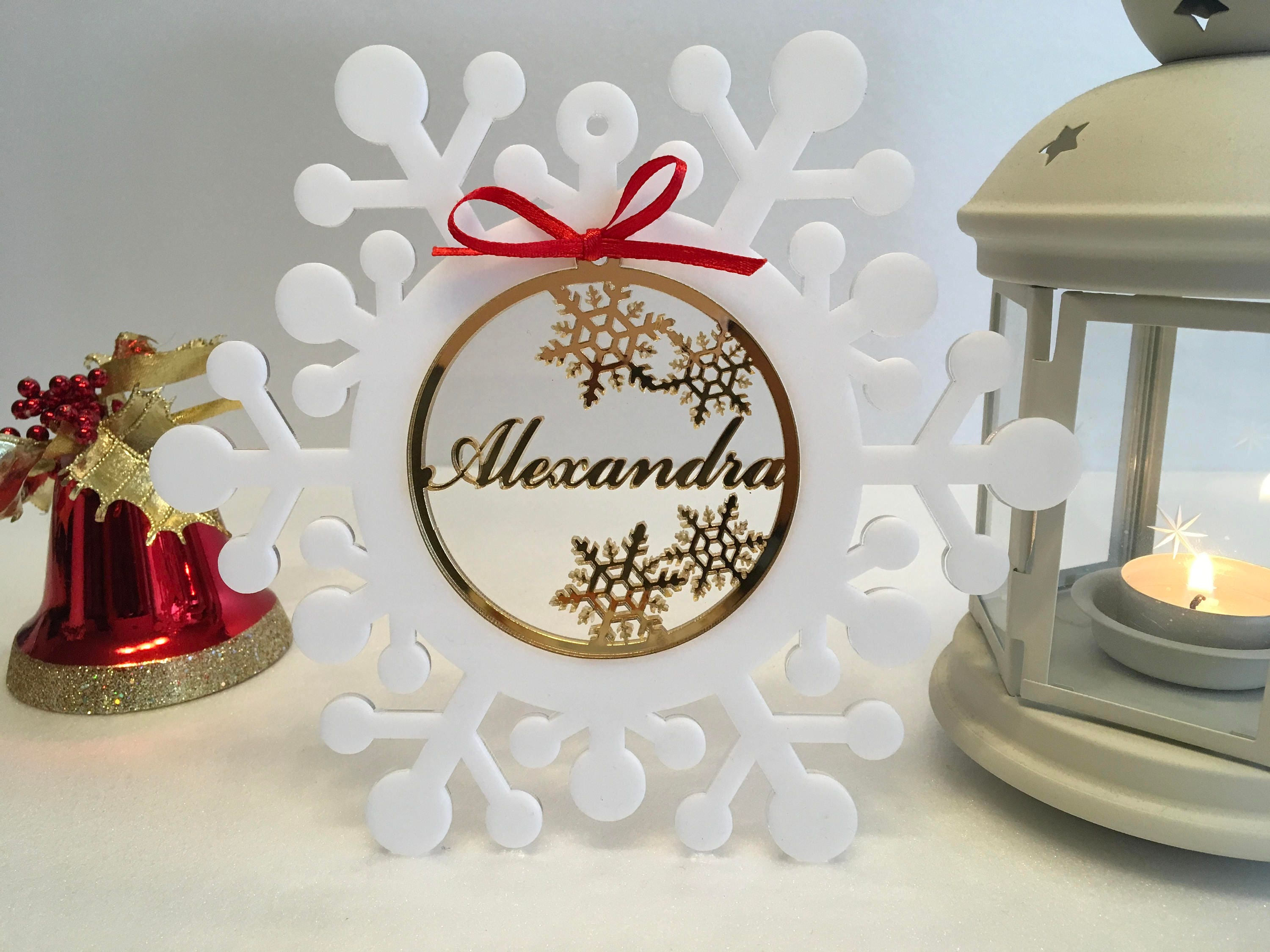 Personalised Christmas Baubles Xmas Name tree ornaments White ...