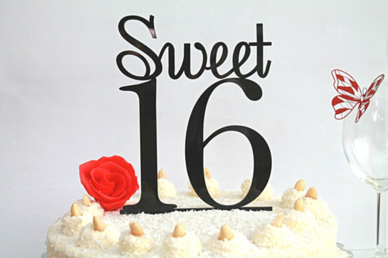 16th Birthday Party Cake Toppers Black Topper 16 Table Decoration Sweet Happy Sixteen Accessories Customised