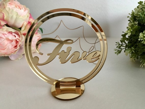 Circle gold wedding table numbers Freestanding script numbers stands Wedding signs Round Custom tag Seating plan Number holders Centerpieces