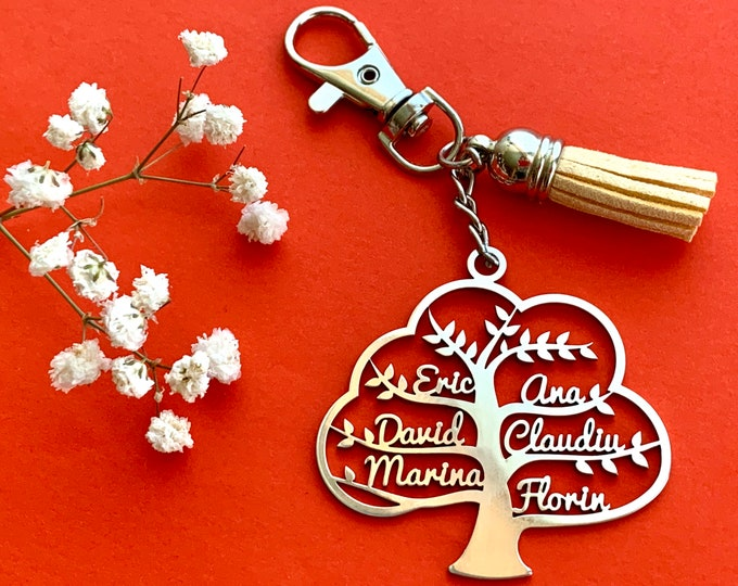 Personalized Tree of Life Keychain Custom Jewelry Keyring Laser Cut Family Names Key Chain Stainless Steel Gift for Mom Dad Mother's Gift