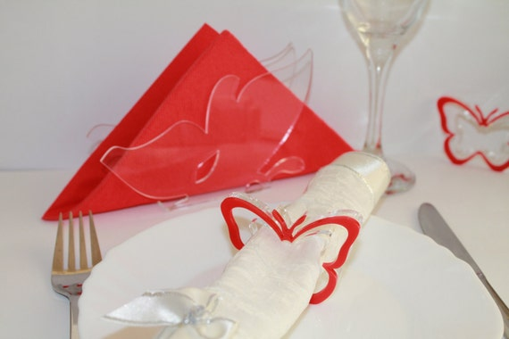 Napkin Rings Red Butterfly Wedding Napkin Ring Holders Birthday Table Dinner Party Decor Set of 6 Rings and one Napkin Holders Party favours