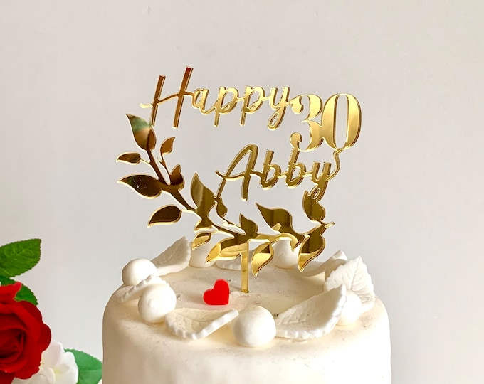 Personalized Name Age Cake Topper Laurel Wreath Happy Birthday Custom Cake Sign Party Decorations 20th 30th 40th 50th 60th 70th Cake Toppers