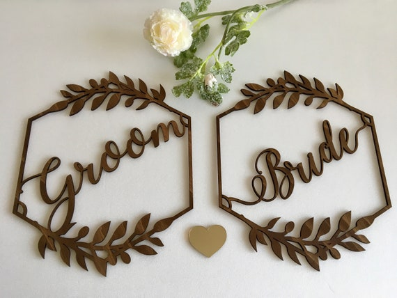 Wood Bride and Groom Wedding Chair Hexagon Signs Sign Boho Custom Personalized Sweet Heart Table Decor Wooden Hanging Sign Rustic Mr Mrs Tag