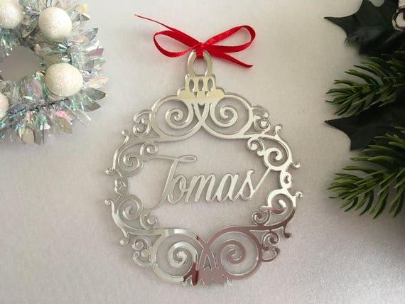 christmas name bauble custom xmas tree ornaments first etsy