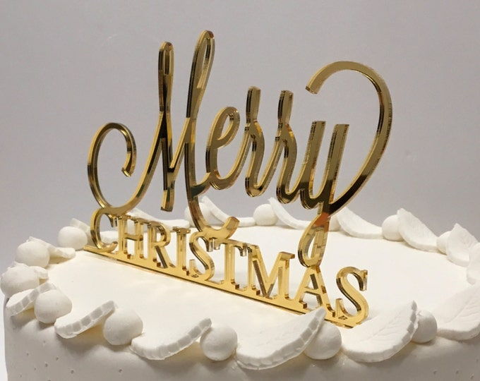 Merry Christmas Party Cake Topper Gold Christmas  Holiday Cake Topper Gold Mirror Merry Christmas Sign Acrylic Cake Topper Xmas Cake Topper