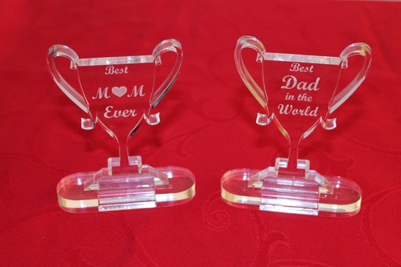 Personalised Trophy Best Mum Gift for mum Best Dad Ever Happy Fathers day Happy Mothers day Best father Gift for mother Mom birthday gift