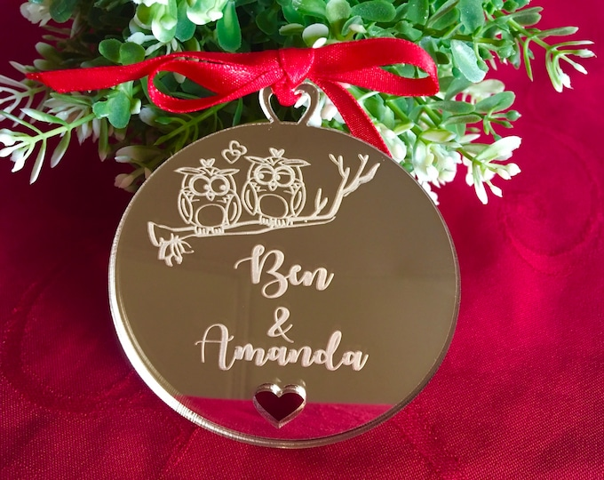 Our First Valentines day Together, Personalized Owl Ornaments Custom Gifts For Couples Name Bauble Wedding, Anniversary Gift for Mom and Dad