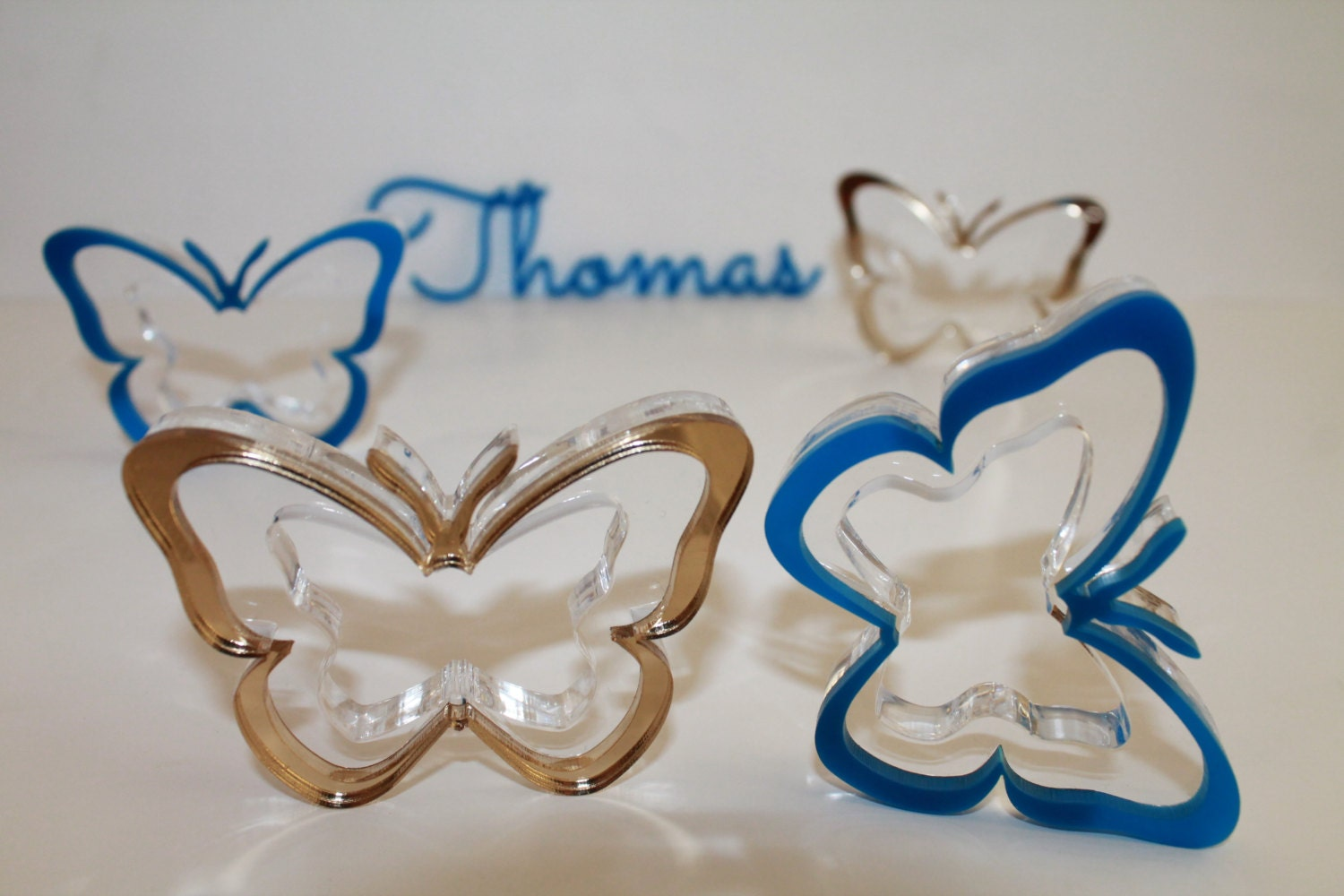 Napkin Ring Holders Blue And Gold Rings With Butterfly