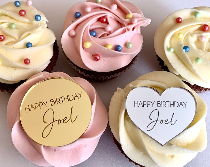 Personalized Name Cupcake Toppers, Cake Topper Charms Happy Birthday Decor Custom Engraved Mirror Acrylic Shape Special Discs Occasion Tags