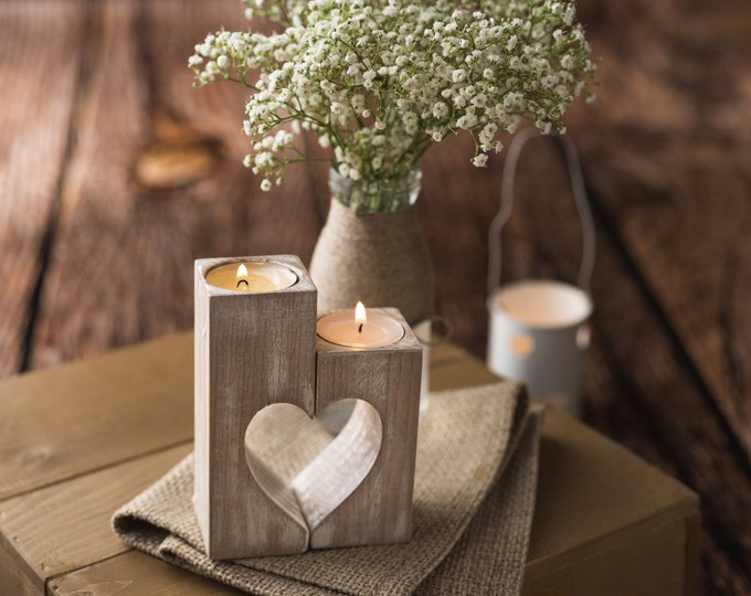 Wood candle holders Wooden heart shape Rustic tea light holder Wedding Decoration Gift for Mom Woodland table centerpiece Valentines day
