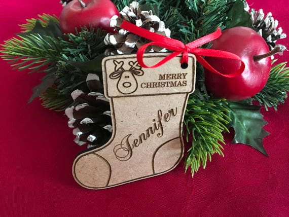 Personalized Christmas Wood Stocking Tags Christmas gift tags Christmas labels Present tags Name Ornament Engraved tags Stocking Sets Custom