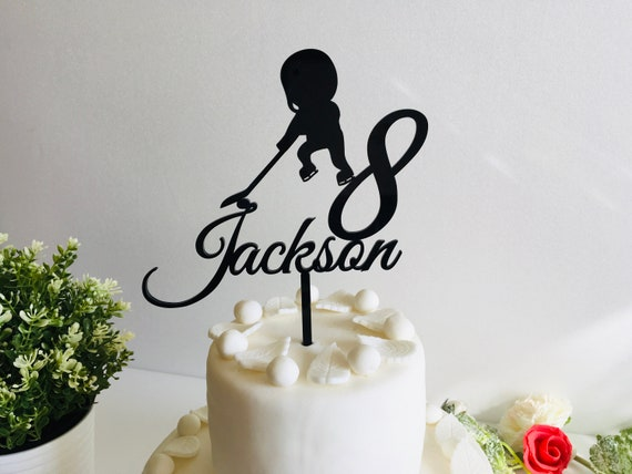 Personalized Any Name Cake Topper for Boys Any Age Custom Ice Hockey Player Birthday Party Cake Centerpiece Party Decorations Cupcake Skates