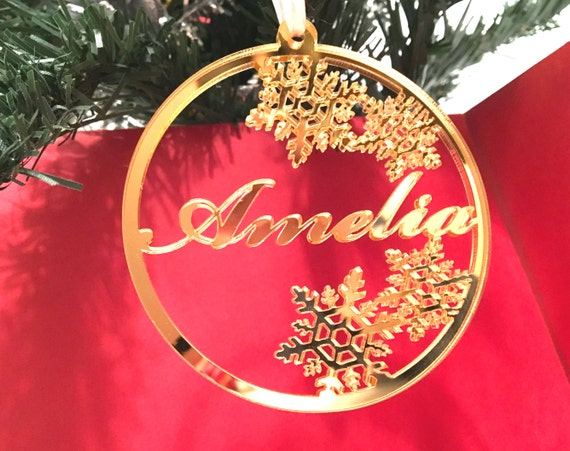 Personalized Christmas Acrylic Gold Mirror Bauble Christmas name tree decoration Xmas Winter wedding Snowflake ornament Dinner place setting