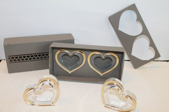 Bridesmaid gift box Gold napkin rings Beautiful handmade gift box Napkin rings in gold heart Wedding gift Birthday gift Party favors Set 6