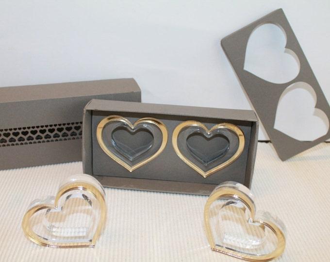 Set of 6 Gold napkin rings Beautiful handmade gift box Napkin rings in gold heart Wedding Birthday Mothers' day Gift for Mom, Grandma's Gift