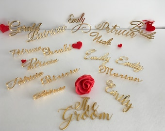 Wedding place cards Custom wedding names Laser cut names Wedding table place Personalised guest names Modern Calligraphy 23 Different fonts