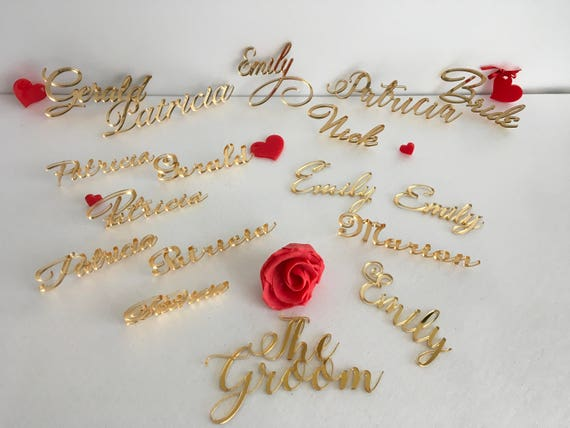 Laser cut names Cheap wedding signs Escort place cards Calligraphy script table name Personalized place setting Luxury guest names 2mm width