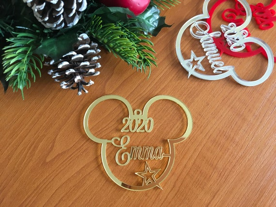Personalized Mickey Mouse Ears Custom Name Ornament Any Year 2020 Unique Gift for Kids Disney Decoration Hanging Bauble Christmas Tree Decor