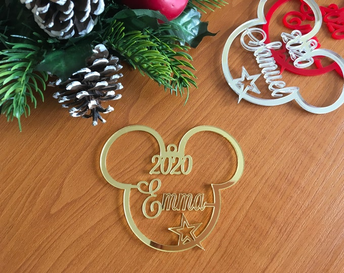 2021 Personalized Mickey Mouse Head Custom Name Ornament Any Year Unique Gift for Kids Disney Decoration Hanging Bauble Christmas Tree Decor