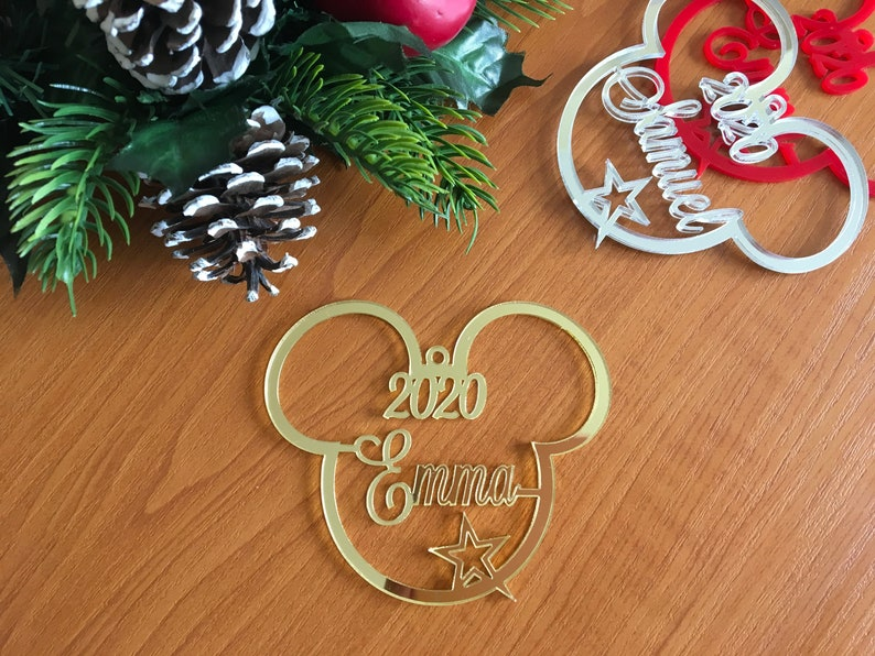 2021 Personalized Mickey Mouse Head Custom Name Ornament Any image 0