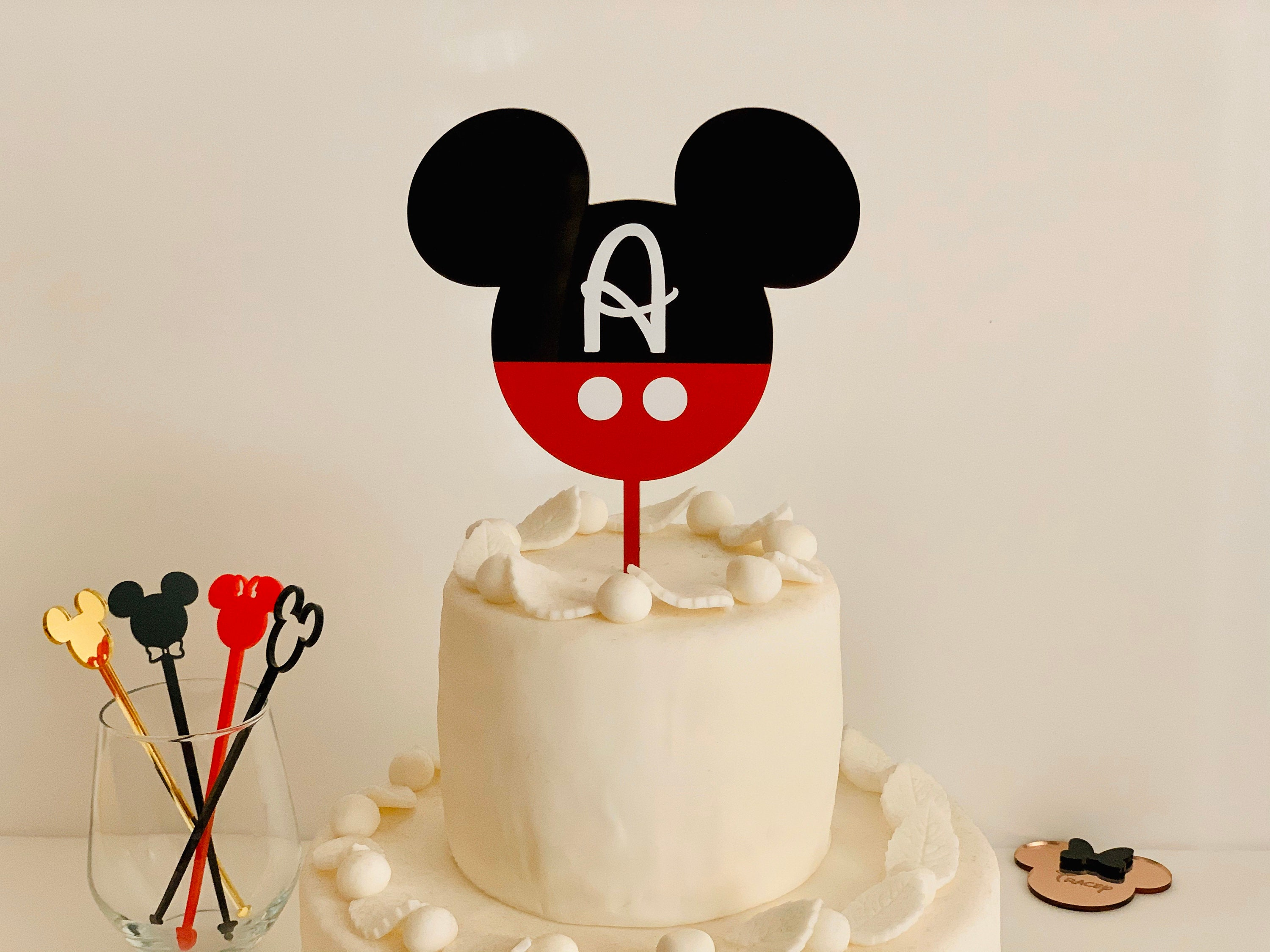 Groovy Personalized Mickey Mouse Cupcake Topper Disney Letter Custom Birthday Cards Printable Riciscafe Filternl