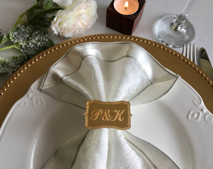 Personalized Luxury Napkin Ring Holders Custom Engraved Initial Wedding Acrylic Napkin Rings Bride and Groom Bridal Shower Party Decorations