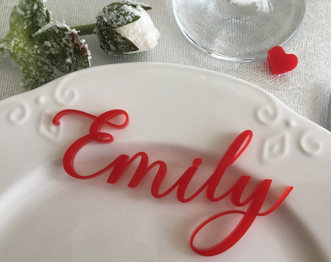Red laser cut names Valentine's day decor Personalized acrylic name place cards Shabby chic Wedding table place names Reception decorations