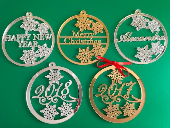 Personalized Christmas Bauble Xmas Name Ornament 2020, 2019 Gift Tags Personalised Christmas Family Gifts Merry Christmas Happy New Year