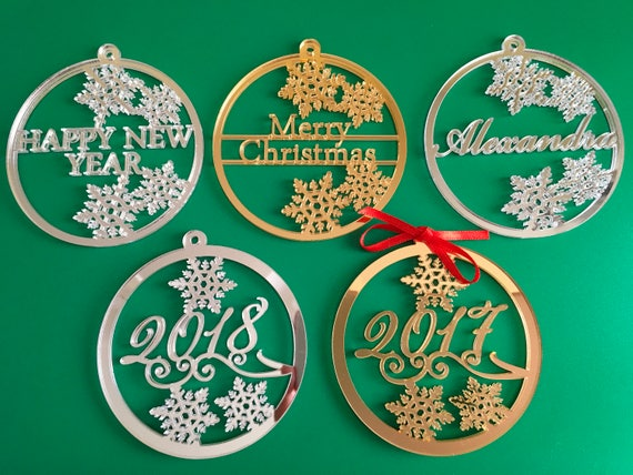 Personalized Christmas Bauble Xmas Name Ornament 2017 2018 2019 Gift Tags Personalised Christmas Family Gifts Merry Christmas Happy New Year
