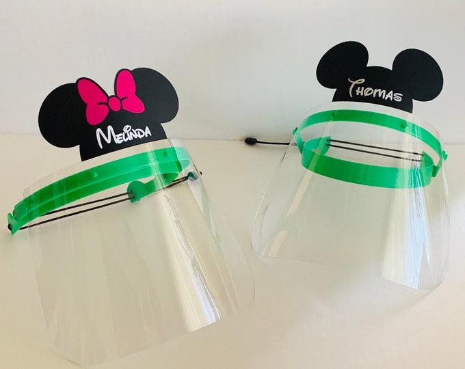 Personalized Kids Face Shield Mickey Mouse Custom Name Mask Girl Boy Children Full School Face Visor Protection Reusable Adjustable Flip-up
