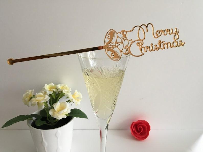 Merry Christmas Swizzle stir sticks Custom Christmas ornament image 0