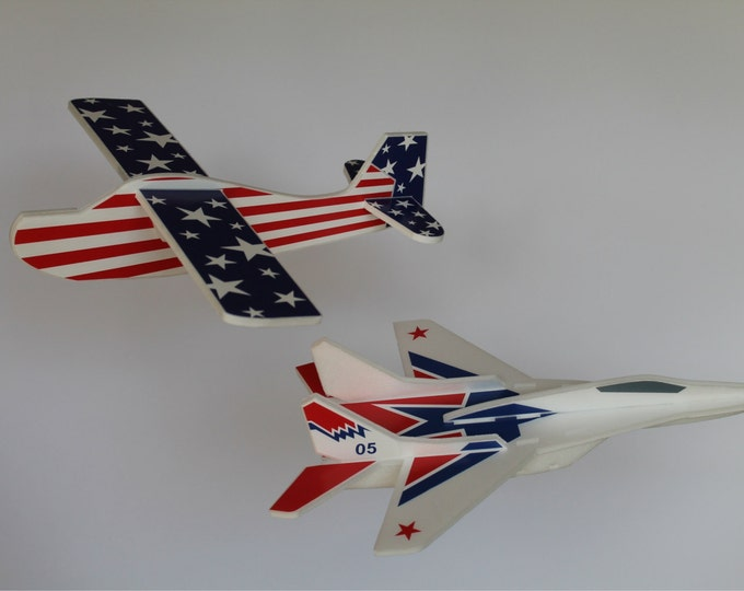 Set of 2 Airplane Toys, AirJet, Airplane for kids, Airplane stars, American patriotic, Glider Styrofoam, Outdoor game, 4th of July gift