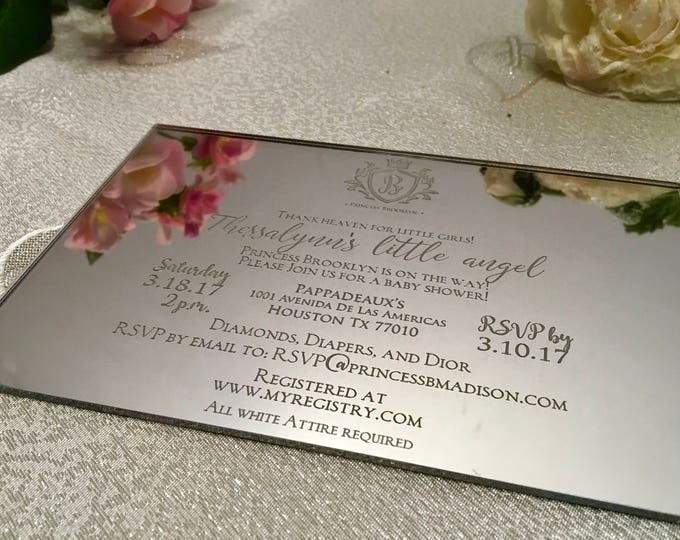 Baby Shower Invitations Party Decorations Engraved Invitation Oh Baby Party Custom Acrylic Invitations Pink invitations Elegant invitations