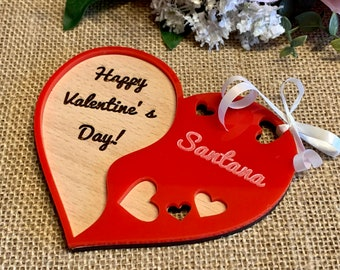 Custom Hanging Heart 3D Name Ornament Personalized Engraved Happy Valentine's Day Gift for Her Wood Handmade Wooden Red Acrylic heart Shape